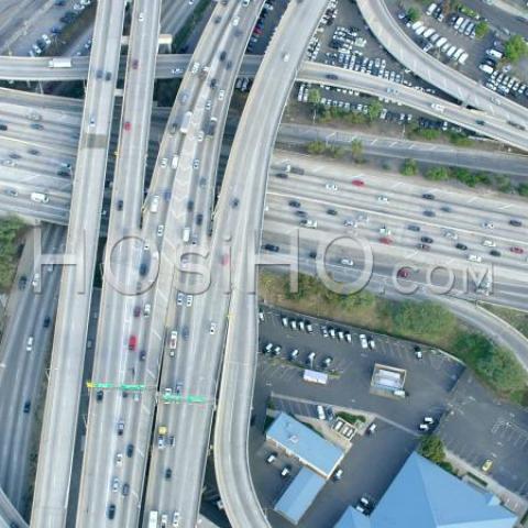 Gratte-ciel du centre-ville de Los Angeles par hélicoptère